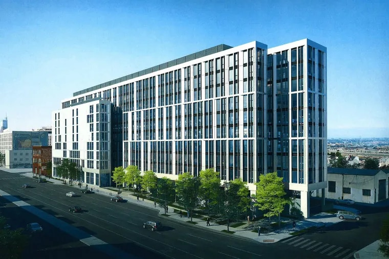 Artist's rendering of apartment building planned at 1100 N. Delaware Ave. beside the historic Edward Corner building, as seen looking southwest.