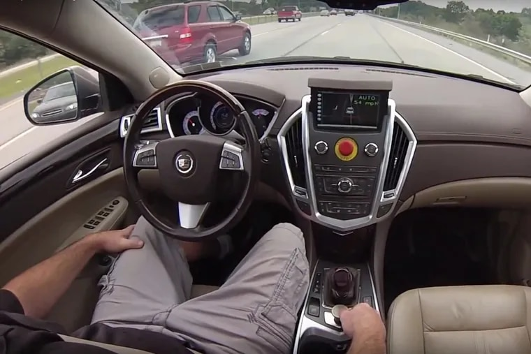 Screen grab of a self-driving car demonstration in a video on the Carnegie Mellon College of Engineering website.
