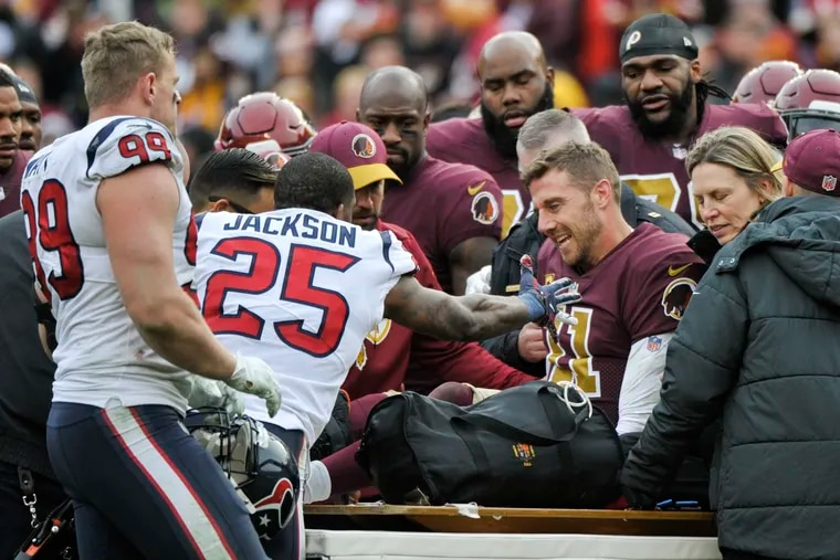 Washington Redskins quarterback Alex Smith will miss the rest of the season after suffering a broken tibia and fibula in his right leg during the team's loss to the Houston Texans on Sunday.