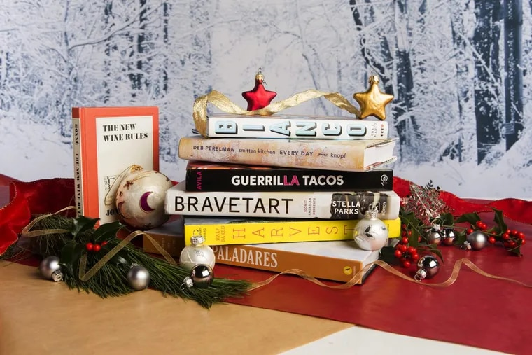 A selection of cookbooks suggested as holiday gifts.