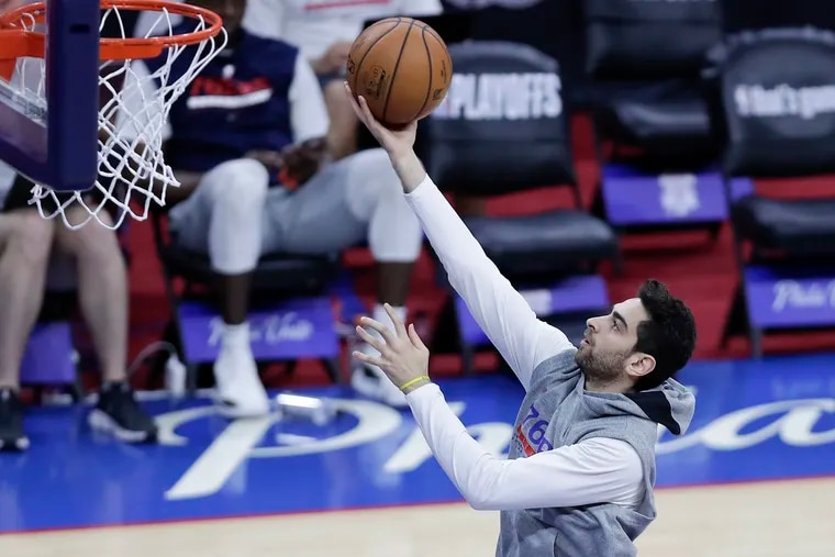 Sixers guard Furkan Korkmaz lays-up the basketball while warming-up before the Sixers play the Atlanta Hawks in Game 7 of the NBA Eastern Conference playoff semifinals on Sunday, June 20, 2021 in Philadelphia.