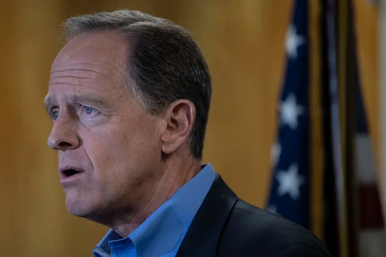 Senator Pat Toomey (R-Pa.) speaks at the podium during a press conference at the U.S. Customs House on Tuesday, August 6, 2019 in Philadelphia, Pa. Toomey released a statement for Congress to act in the wake of the mass shootings in El Paso, Texas and Dayton, Ohio