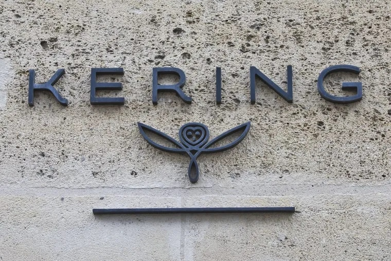 The logo of French luxury group Kering is pictured in Paris.