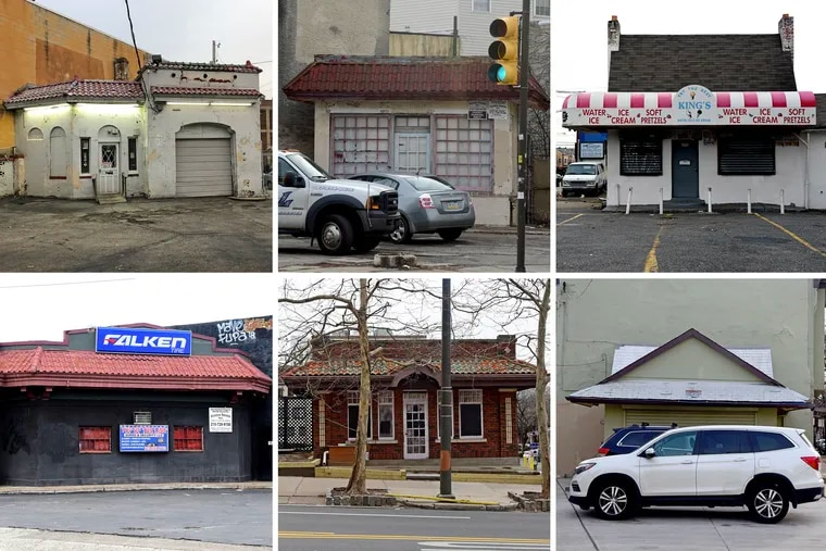 As cars went mainstream in the 1920s, the architecture of the filling station came into its own. Many of these relics survive in Philadelphia. Top row, from left: 1824 Sedgley at Kensington Avenue; 11th and Christian; 1641 N. 33rd, at Cecil B. Moore. Bottom row, from left: North Broad and West Cumberland; North 20th Street, between JFK and Arch; and Fifth Street and Monroe/Passyunk Avenue.