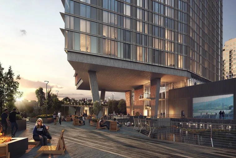 A 22-story apartment building proposed for Piers 34-35 welcomes pedestrians on Columbus Boulevard and offers a public space modeled on Spruce Harbor Park.