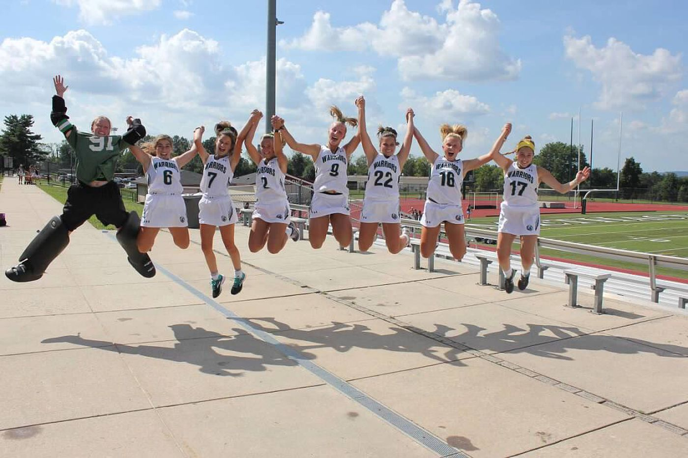 cf4a2a644512 Methacton seniors jump in the air on Senior Day as the Warriors head to the  PIAA
