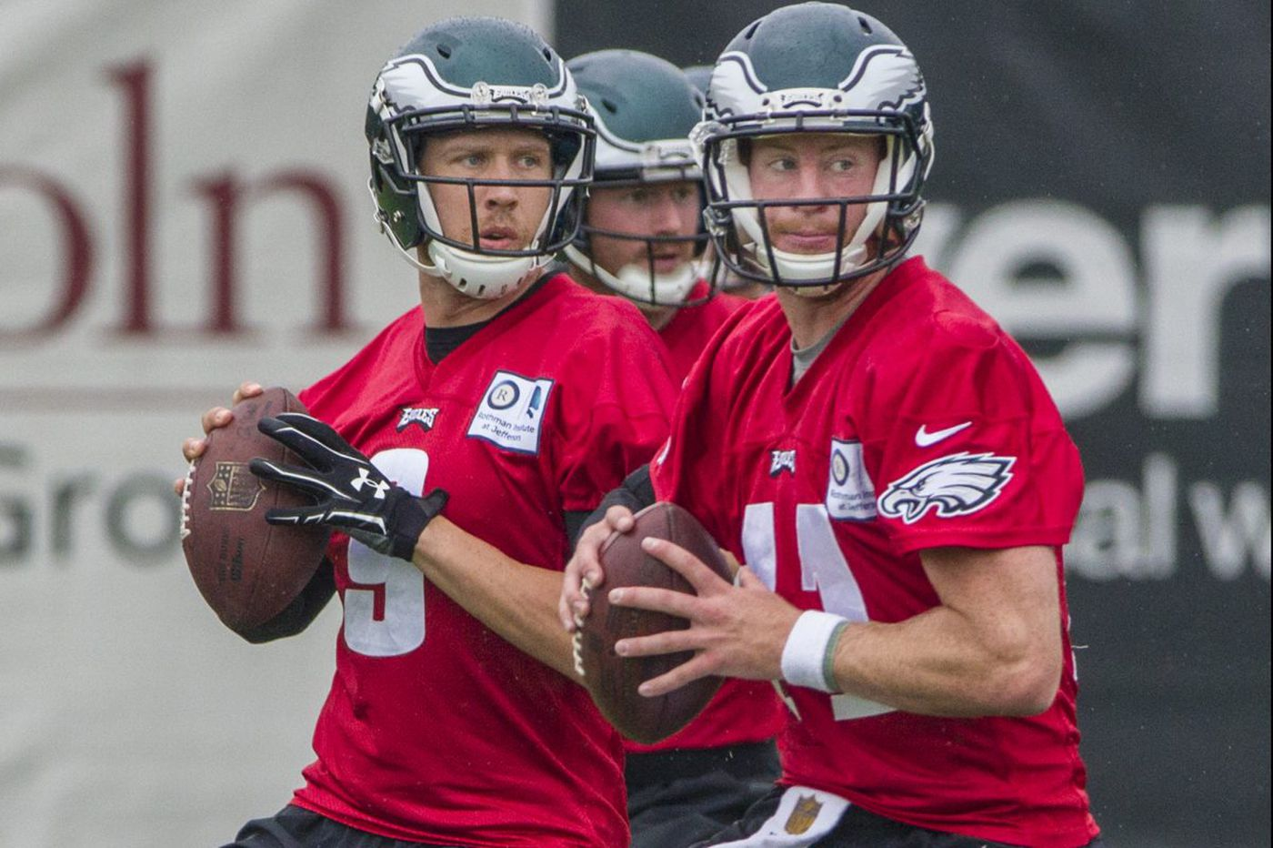 Carson Wentz is back - in the Eagles' QB room, at least