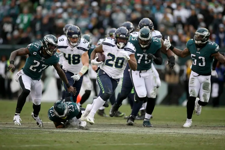 The Eagles' normally solid run defense gave up this 58-yard touchdown run to the Seahawks' Rashaad Penny in Sunday's 17-9 loss.
