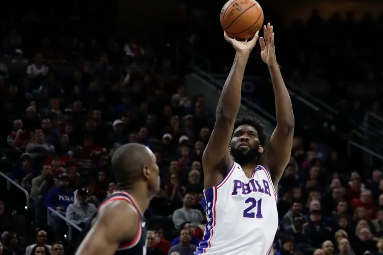 Sixers center Joel Embiid scored nine of his 10 points in the first half.