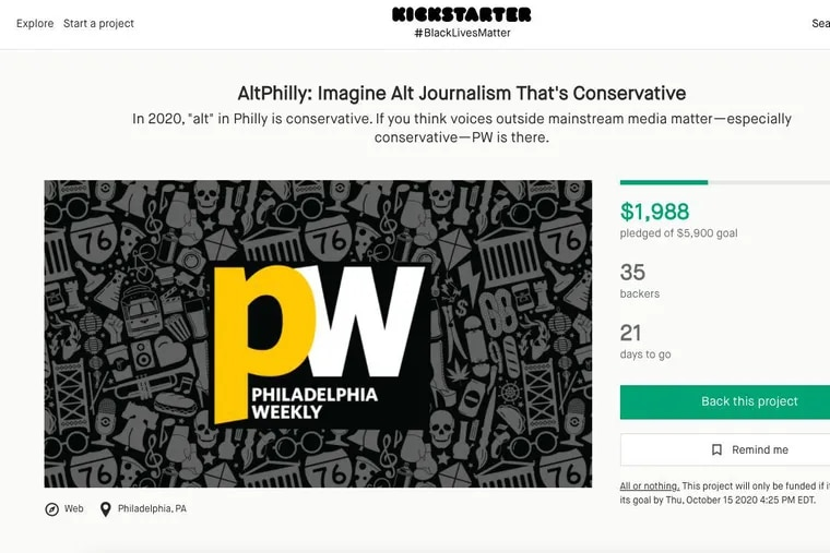 A screenshot of a Kickstarter fund-raising campaign Philadelphia Weekly, the city's last alternative weekly, announced this week to test switching to a conservative ideology.