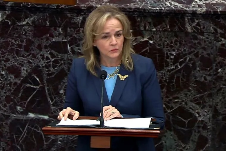 U.S. Rep. Madeleine Dean (D., Pa.) delivers closing arguments in then-President Donald Trump's second impeachment trial in February. Dean said Tuesday that she won't run for Senate in 2022.