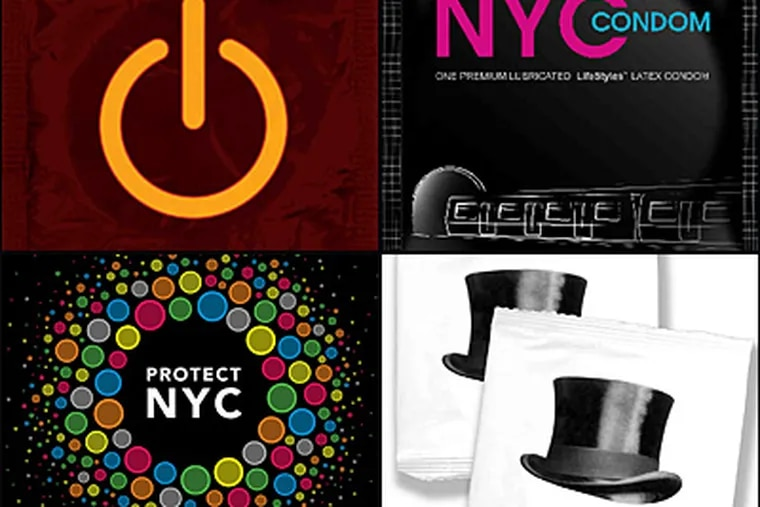 The New York City condom wrapper contest drew many entries. The winning image: electronic power button (top left). Other finalists included Train (clockwise, top right), Top Hat and Circle of Condoms.