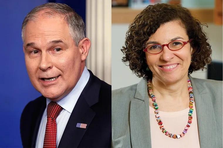 EPA Administrator Scott Pruitt, left, Drexel's Ana Diez Roux, right.