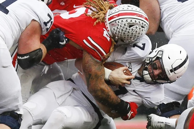 Ohio State defensive end Chase Young tackles Penn State quarterback Will Levis, who replaced injured starter Sean Clifford in the third quarter of Saturday's game in Columbus.