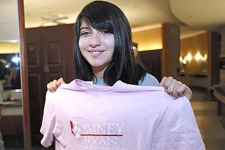 Samantha Pawlucy, 16, of Port Richmond, said she was belittled for wearing a Romney/Ryan T-shirt to Charles Carroll High School on dress-down day. (Sharon Gekoski-Kimmel / Staff Photographer)
