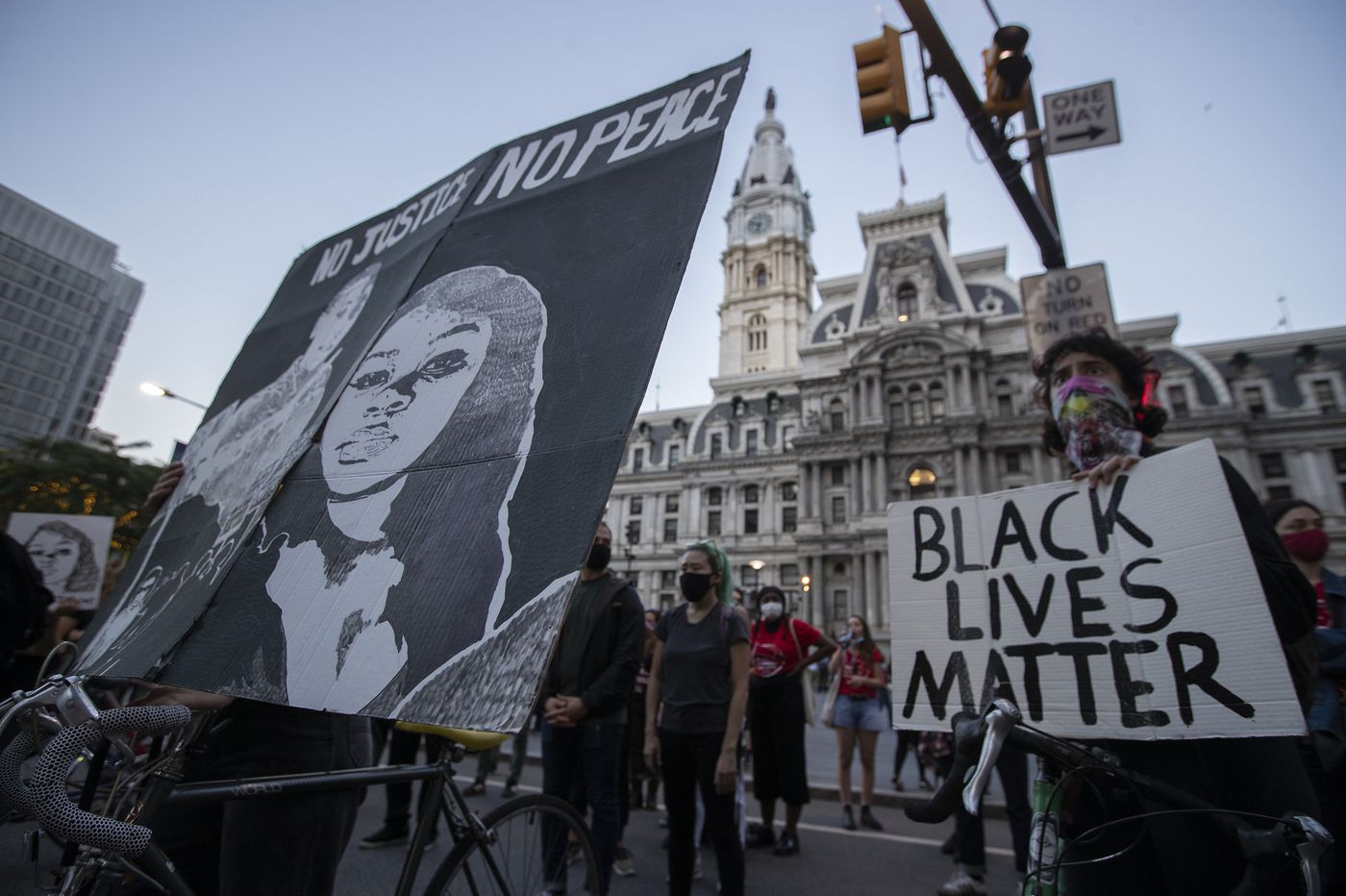 Protesters march through Philadelphia in the wake of the grand jury ruling in Breonna Taylor's death