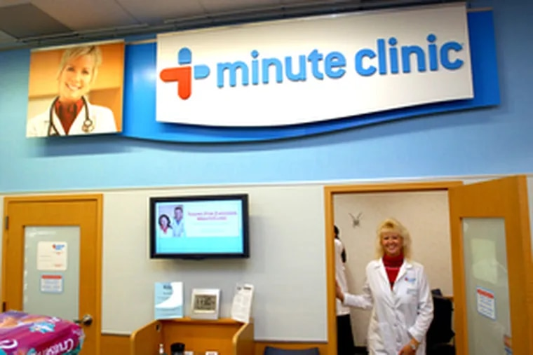 At the MinuteClinic at a CVS in Runnemede, nurse practitioner Nancy Chudoff awaits patients. The in-store clinic is among 500 nationwide that treat ear infections, flu, poison ivy and the like.