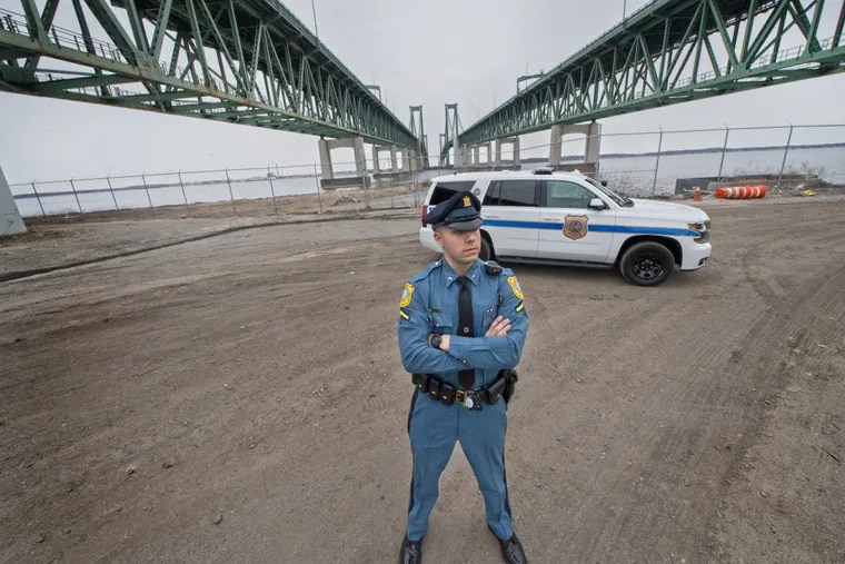 S.W. Burkhead, Delaware River and Bay Authority Police, patrols the Delaware Memorial Bridge in New Castle, Del. Hundreds of motorists in our area suffer from an unusual yet debilitating fear of driving over bridges. Luckily, help is just a dispatch call away. People crossing the Delaware Memorial Bridge can take advantage of a 70-year-old Acrophobia Escorts program, which calls for patrolman to drive a scared driver's car over the bridge for them.