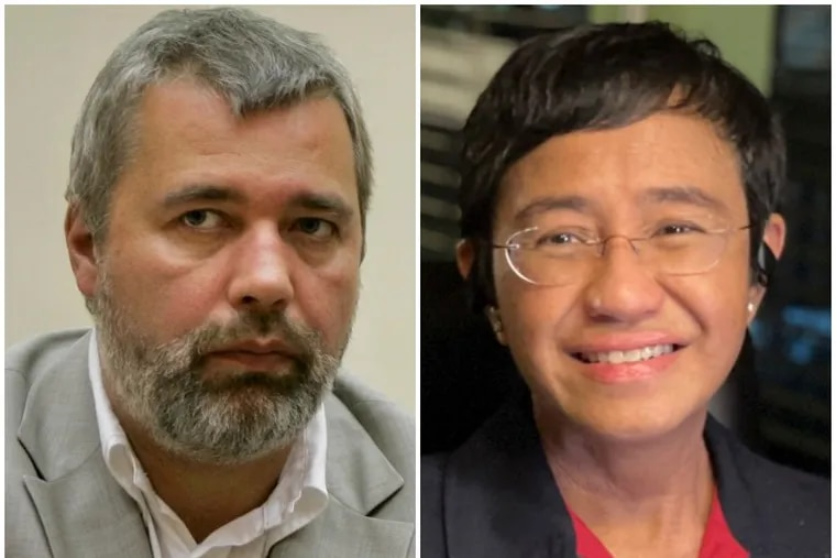 This year's Nobel Peace Prize winners: Dmitry Muratov, left, editor-in-chief of Russia's main opposition newspaper Novaya Gazeta; and Maria Ressa, cofounder and CEO of the Philippines-based news website Rappler.