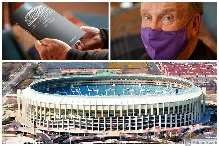 """In his book, """"The Secret Apartment: Vet Stadium, a surreal memoir,"""" Tom Garvey, upper right, details how he lived in an abandoned concession stand inside Veterans Stadium for three years."""