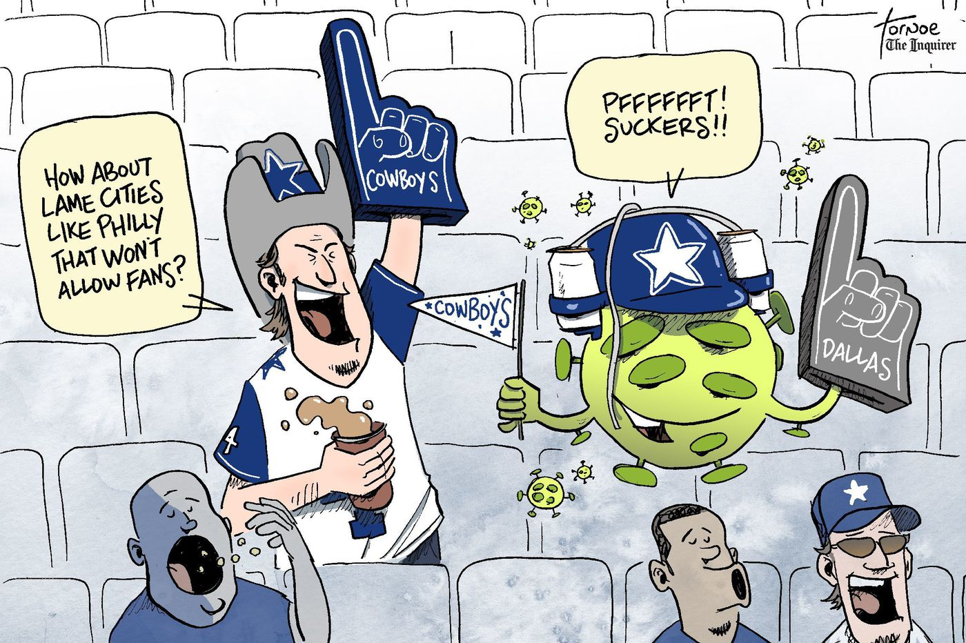 Cartoon: Cowboys put out a welcome mat for the coronavirus in Dallas