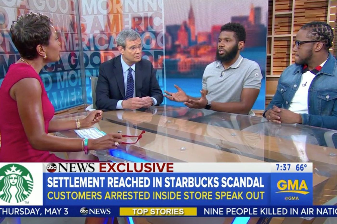 On 'GMA,' black men arrested at Philly Starbucks say they want to focus on 'positive outcome'