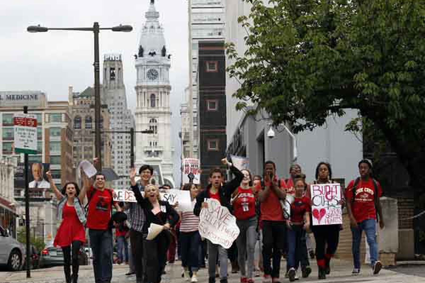 City students converge to protest budget cuts
