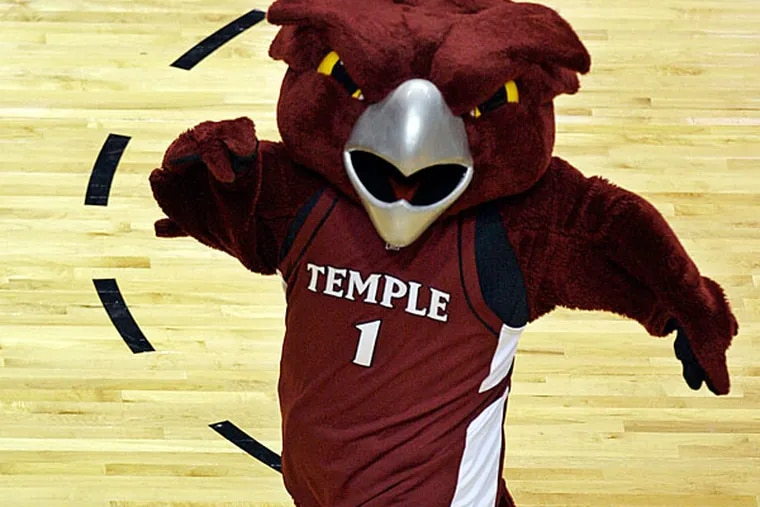 In this March 20, 2009, file photo, the Temple Owl mascot dances on the court during a first-round men's NCAA college basketball tournament game in Miami. (Photo/Lynne Sladky, File)