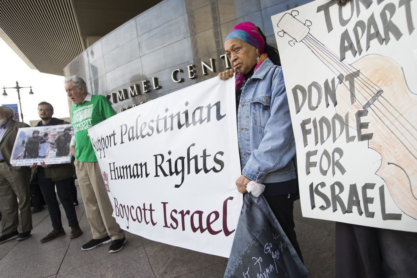 Pro-Palestinian activists protest the Philadelphia Orchestra's Israel tour