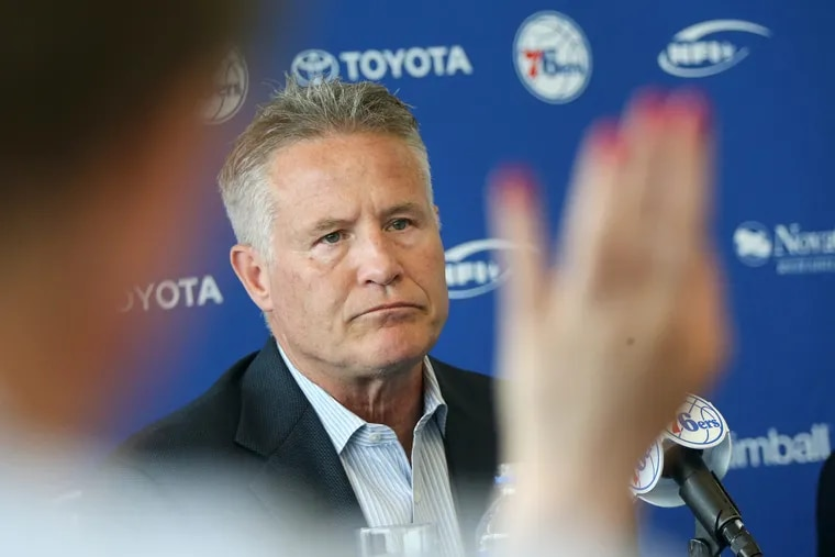 The Sixers' interim GM Brett Brown speaks during a news conference discussing the resignation of Bryan Colangelo on Thursday at the Sixers' facility in Camden, N.J.