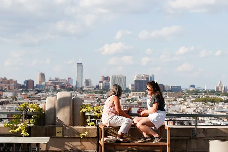 View of Center City Philadelphia from the Bok Bar atop the Bok building in South Philadelphia.