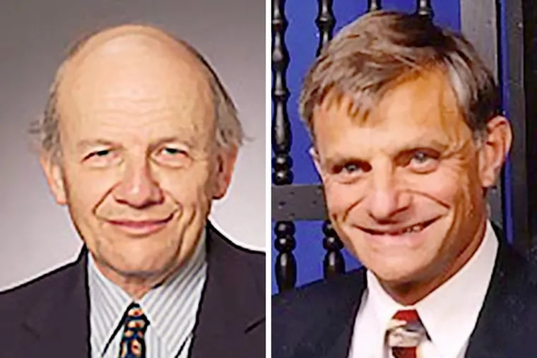 Temple professors Erwin A. Blackstone (left) and Simon Hakim are under investigation by the university following an ethics complaint they took undisclosed research funds from the private prison industry for research on prisons.