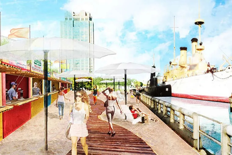 An artist's rendering shows the boardwalk planned for Spruce Street Harbor Park, a pop-up park on the Delaware designed by Groundswell Design Group, Interface Studio, and Digsau.