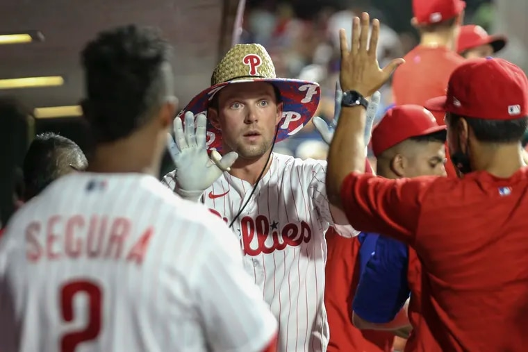 Rhys Hoskins played just seven games in August yet had four homers in the month, more than every other player on the team except Bryce Harper and Odubel Herrera.