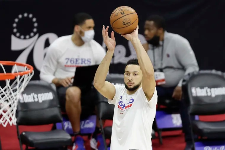Ben Simmons during warmups before the Sixers played the Atlanta Hawks in Game 7 of their NBA Eastern Conference semifinal series.