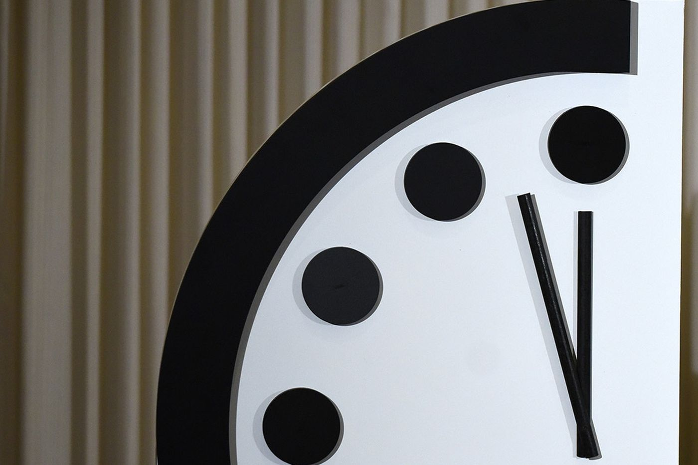 Doomsday Clock is 100 seconds to midnight, the symbolic hour of the apocalypse