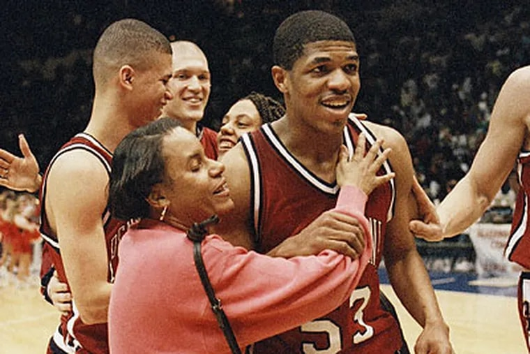 Jerome Allen played on the last Penn team to win a game in the NCAA Tournament, a 90-80 win over Nebraska at Nassau Coliseum on Long Island. (Ron Frehm/AP file photo)
