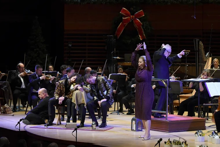 Bramwell Tovey leads the Philadelphia Orchestra in 'Amahl and the Night Visitors' at the Kimmel Center. Mezzo-soprano Renée Tatum is in the foreground.