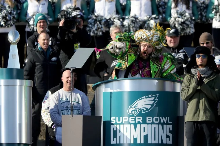 Eagles' Jason Kelce yells during his speech at the Eagles Super Bowl Champions celebration at the Art Museum in Philadelphia on February 8, 2018.