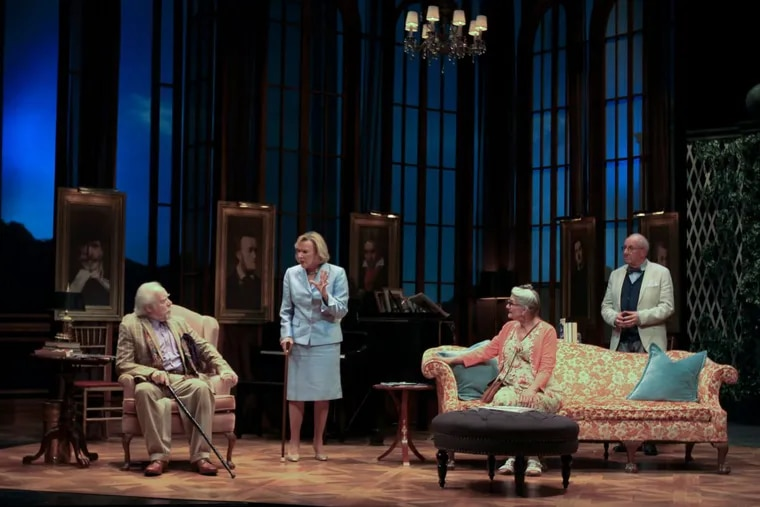 """(Left to right:) Keith Baker, Joy Franz, Laural Merlington, and Nick Ullett in Bristol Riverside Theatre's production of """"Quartet"""" by Ron Harwood, through Nov. 19."""