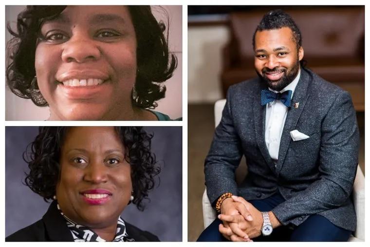Top left: Cecelia Thompson, new Philly school board member; bottom left: Lisa Salley, new Philadelphia school board member; right: Reginald Streater, new Philly school board member will be sworn in as three new Philly school board members.