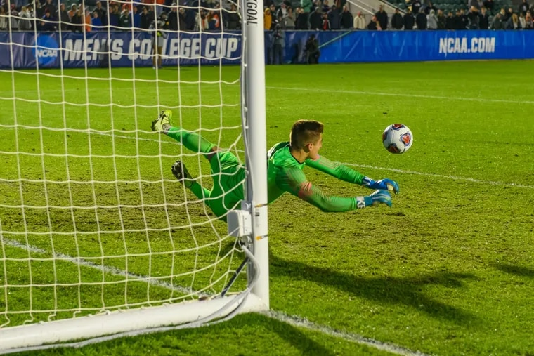 Georgetown Hoyas goalkeeper Tomas Romero, a Cherry Hill native and product of the Philadelphia Union's academy, making the save in the penalty shootout that won the national championship game over the Virginia Cavaliers.