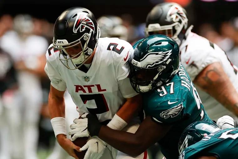 Eagles nose tackle Javon Hargrave sacks Atlanta Falcons quarterback Matt Ryan during the fourth quarter.