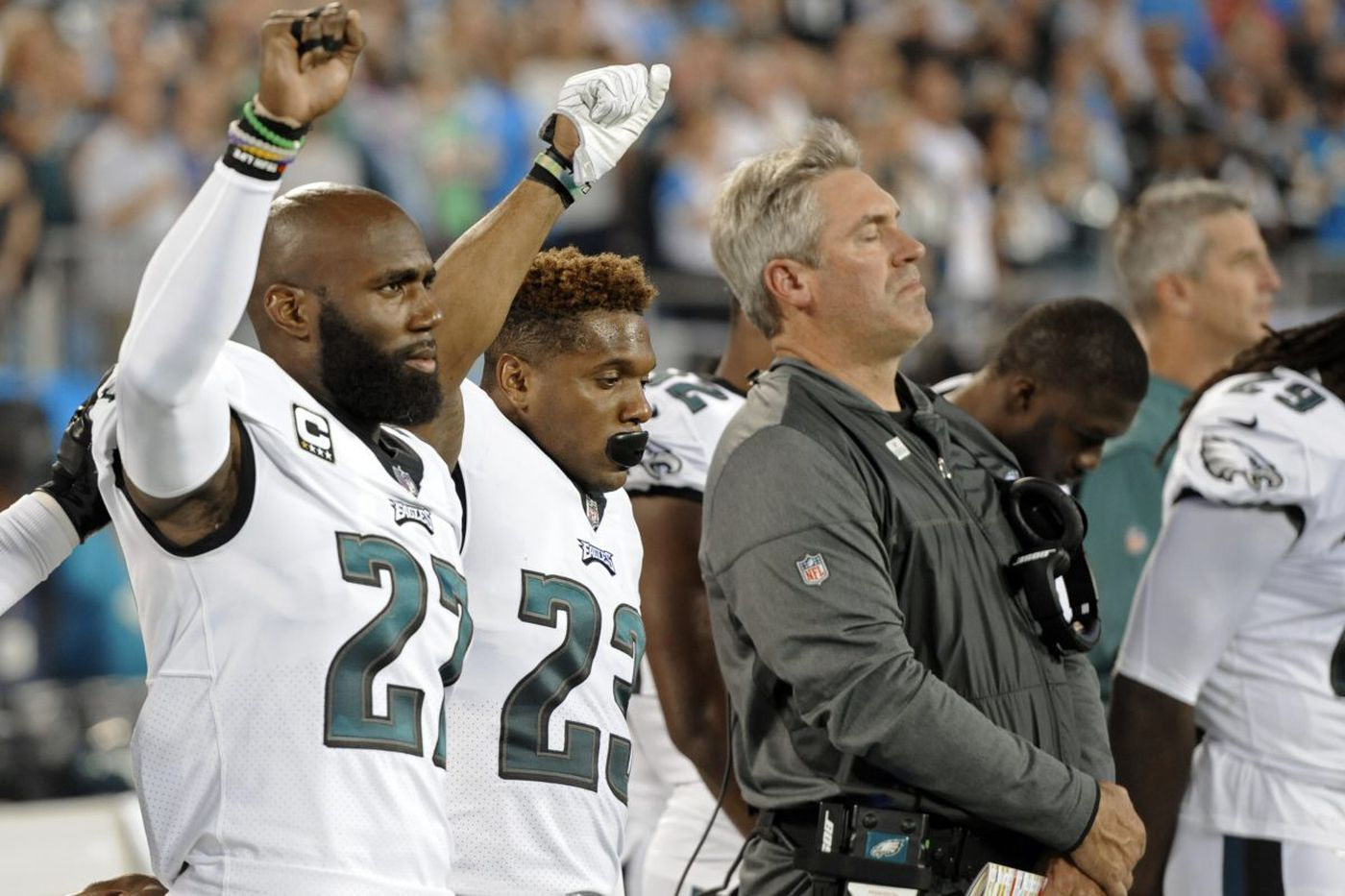 National anthem at Eagles-Panthers game brings little protest