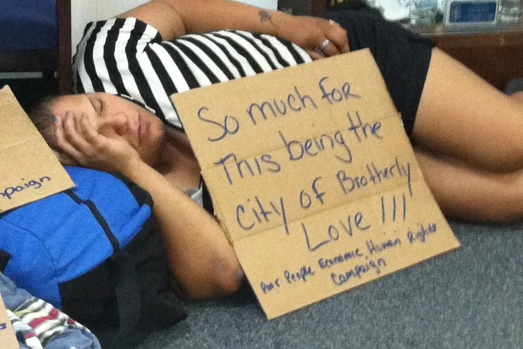 Homelessness is just one of the issues General Assistance is aimed at easing. Yesenia Cruz, 33, a homeless woman who took part in a protest last November on behalf of women looking for placement in the city's shelter system, slept during a sit-in at a city office.