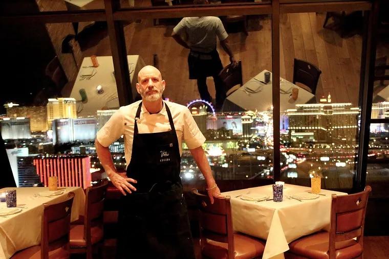 Chef Marc Vetri in the dining room of Vetri Las Vegas on the 56th floor of the Palms Casino Resort.