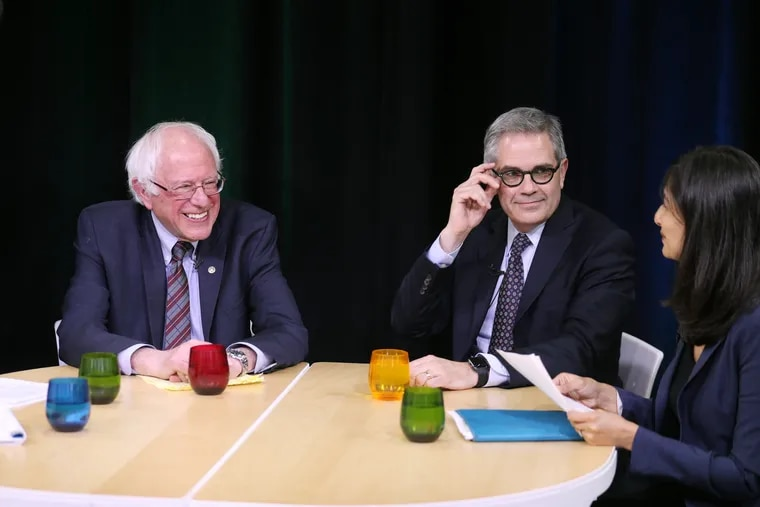 Bernie Sanders (left) appears on Criminal Justice Reform Roundtable, a panel with Philadelphia District Attorney Larry Krasner (center) and other criminal justice reformers at Philadelphia Community Access Media on Friday, May 4, 2018.