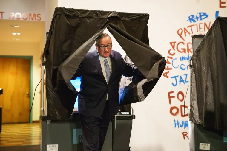 Mayor Jim Kenney votes on Election Day at the Painted Bride Theater.