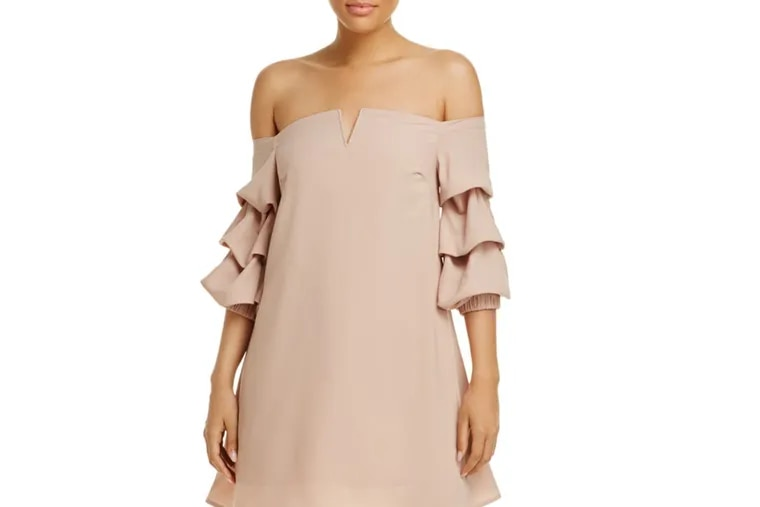 A neutral-hued  off-the-shoulder dress by JOA available at Bloomingdale's.