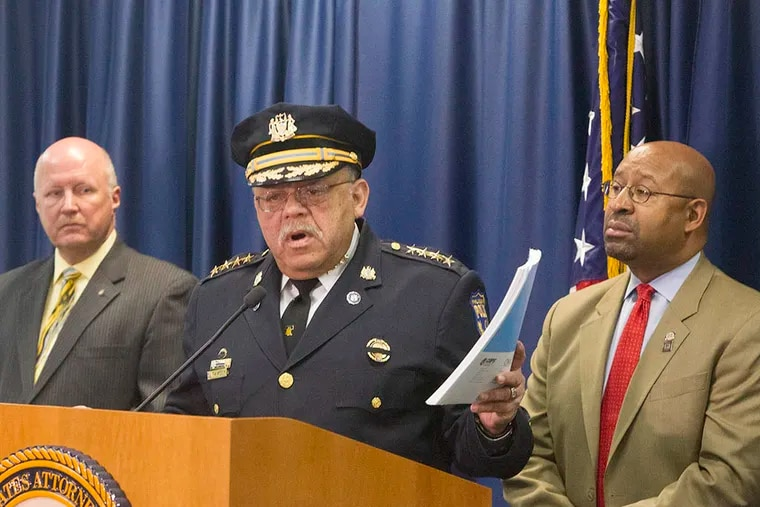 """Philadelphia Police Commissioner Charles Ramsey speaking about the release of the """"COPS"""" report, a review of policing in Philadelphia by the justice department on Mar. 23, 2015.  ( ED HILLE / Staff Photographer )"""